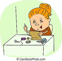 Seamstress - Illustration of a Seamstress at Work