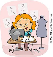 Seamstress - Illustration of a Seamstress/ Fashion Designer...