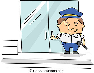 Security Guard - Illustration of a Security Guard at Work