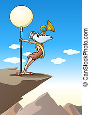 senior old man blow trumpet on natrue background - ...