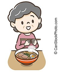 Illustration of a senior woman eating ramen