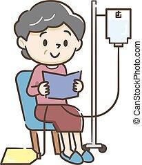 Illustration of a senior woman undergoing peritoneal dialysis