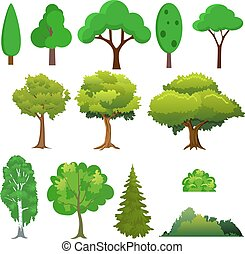 Illustration of a set different trees