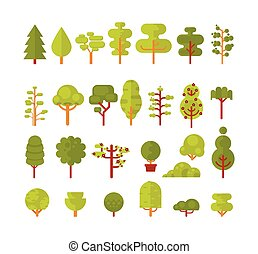 illustration of a set  isolated trees and shrubs on  white background in  flat style