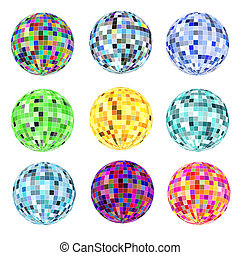 of a set of balls of different colors for a disco on a white...