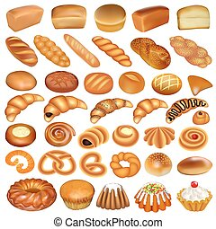 Illustration of a set of bread and baking isolated on a white background