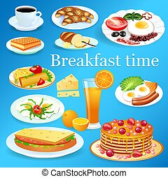 Illustration of a set of breakfast dishes with coffee and orange juice.
