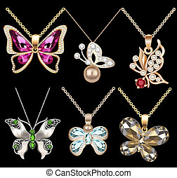 of a set of butterfly pendants with precious stones