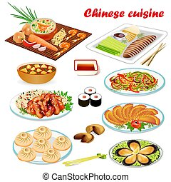 Illustration of a set of Chinese dishes with soup, Peking style duck, shrimp, prediction cookies, meat in sweet and sour sauce and sushi