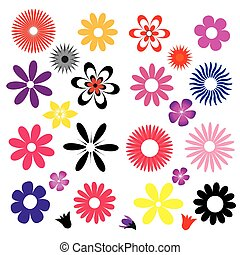 a set of colored flowers