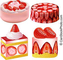 set of dessert with strawberries