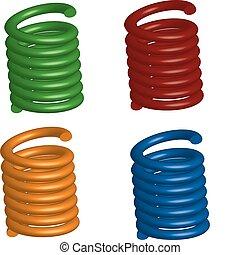 set of four 3D springs - Illustration of a set of four 3D...