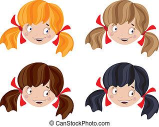 set of head funny girl