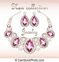 Illustration of a set of jewelry necklace and earrings with a female with pink gemstones