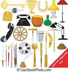 Illustration of a set of objects. EPS10