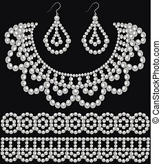 Illustration of a set of pearl earrings and necklace and ornament