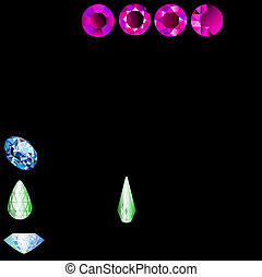 of a set of precious stones of different cut