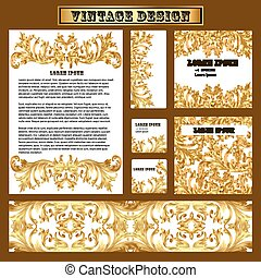 set of templates for design with vintage gold ornament