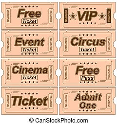 Set Of Vintage Tickets With Various Objects