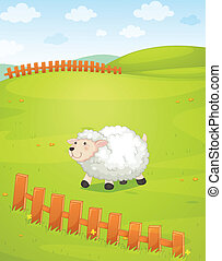 illustration of a sheep in a beautiful nature