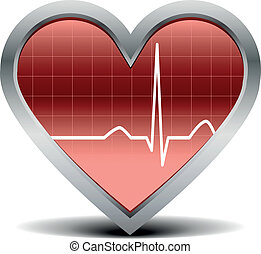 heart beat signal - illustration of a shiny and glossy heart...
