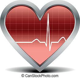 heart beat signal - illustration of a shiny and glossy heart...
