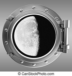 Illustration of a ship porthole with a view to moon