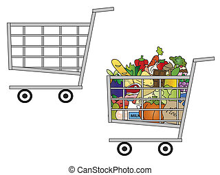 cart - illustration of a shopping cart empty and one full of...