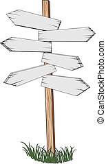 Illustration of a Sign Post pointing different directions for locations and miles to go.