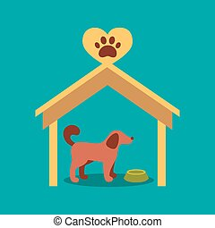 Illustration of a signboard beside a doghouse with a dog