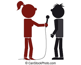 illustration of a silhouette interview