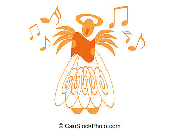 angel - illustration of a singing angel