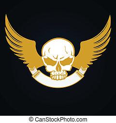 Illustration of a skull with emblem