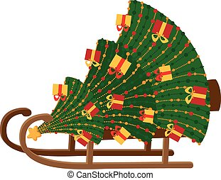 sled with Christmas tree