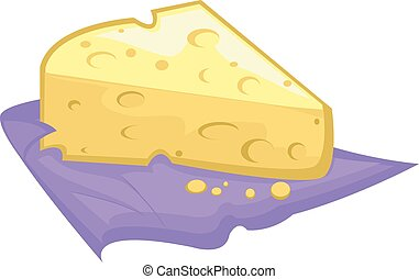 Cheese - Illustration of a Slice of Swiss Cheese Resting on...