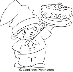small cook with cake outlined - illustration of a small cook...