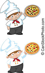 small cook with pizza