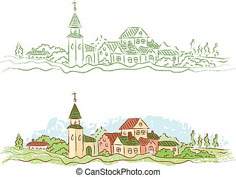 country town - Illustration of a small country town