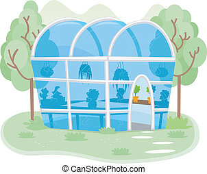 Illustration of a Small Greenhouse Filled with Different Kinds of Plants