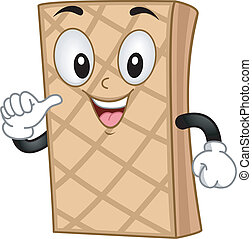 Illustration of a Smiling Mascot Wafer pointing at self