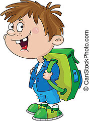 smiling schoolboy - Illustration of a smiling schoolboy