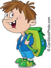 Illustration of a smiling schoolboy