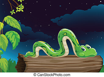 illustration of a snake on a wood in dark night