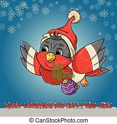 illustration of a Snegir bird in a Santa Claus hat flying with a spruce branch and a Christmas ball in its beak among snowflakes