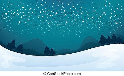 snowfall - illustration of a snowfall and beautiful nature ...