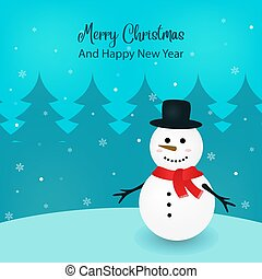 Illustration of a snowman on Christmas. Blue background with snowflakes. Merry Christmas and Happy New Year.