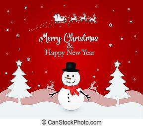 Illustration of a snowman on Christmas
