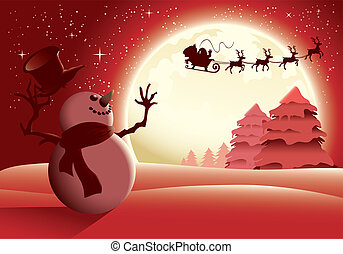 Illustration of a snowman waving happily to Santa and his sleigh with a full moon background - red version.