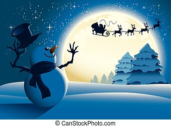 Illustration of a snowman waving happily to Santa and his sleigh with a full moon background.
