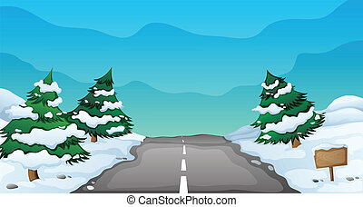 snowy landscape - illustration of a snowy landscape and a ...